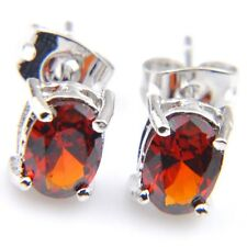 Unique Jewelry Gift Xmas Red Fire Garnet Gemstone Silver Stud Hook Earrings