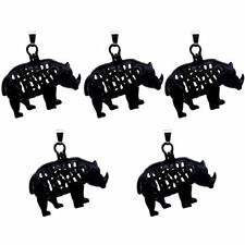 H127 5X/lot Black Rhinoceros Pearl Beads Cage Magnetic Pendant - Without chain