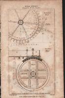 1808 Antico Stampa ~ Acqua Ruote ~ John Smeaton ~ Sezione Overshot Diagrammi