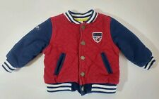 Little Me Boy's Size 12 Months Quilted Top Button Front Red Blue Football Jacket