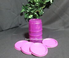 Tupperware NEW Set of 4 Bright Purple SNACK CUP CUPS Bowls Purple Seals