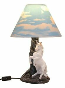 "Ebros Gift Lights Rearing Mystical Rare White Unicorn Table Lamp 19""H"