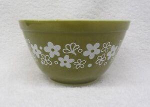 Corning PYREX Crazy Daisy Spring Blossom Small Mixing Bowl #401 750ml Green