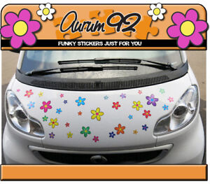 Multi Coloured Funky Daisy Car Stickers - Pack of 30