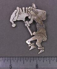 Vintage Signed Sterling Silver Stylized Christmas Santa Elf Kokopelli Pin Brooch
