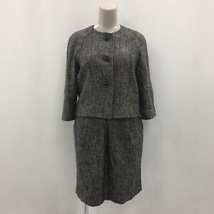 Hobbs Skirt Suit 2 Piece UK 16-18 Navy Blue Beige Collarless Smart Work 173291