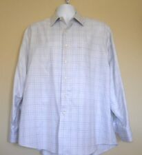 Tommy Bahama Button Front Dress Shirt 16 1/2 34-35 Blue with Brown pinstripe