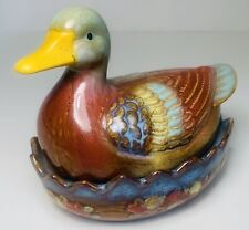 Vintage Ceramic Nesting Duck Mallard Candy Trinket Dish  Sugar Bowl Glazed