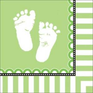 Sweet Feet Green Baby Shower Party Lunch Napkins x 16