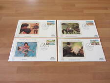 1981 Benham Silk Covers BGS6 Guernsey CHRISTMAS- Disabled  (4 covers)
