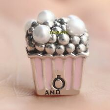 925 Sterling Silver Delicious Popcorn Charm Pale Pink Enamel White Crystal Pearl