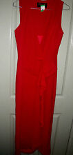 Designer 10 Red Showgirl Plunging Neckline Long Evening Gown Bridesmaid Dress