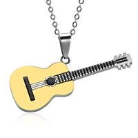 Longue chaîne en acier inoxydable musique guitare pendentif collier femmes hoLTA