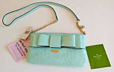 Kate Spade Charm City Ostrich solid robinsegg leather cross body bag