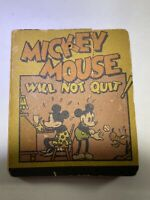 Vintage Mickey Mouse Book Will Not Quit 1934 Disney Great Britain Cover Torn
