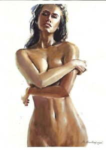 original drawing А3 56BV art by samovar female nude watercolor woman naked