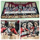 Vintage 60s Jesus Last Supper Tapestry Wall Hanging Rug Made in Italy 38.25x19.5