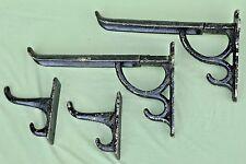Pair Victorian Cast Iron Folding Saddle Bridle Racks & 2 Tack Hooks Cottam & Co