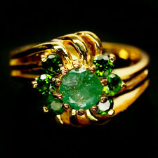 NATURAL 6 mm. GREEN EMERALD & CHROME DIOPSIDE 925 STERLING SILVER RING SZ 7.75