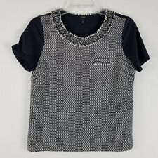 J.Crew Tweed front short sleeved silk and cotton women blouse sz XS style 65237