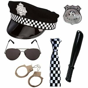 Adult Unisex Police Set Hat, Tie, Badge, Truncheon, Hand Cuffs & Sunglasses