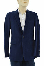 $995 BURBERRY London Blue Velvet Mens Blazer Jacket Sport Coat EU 48 US 38