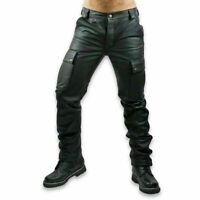 Men's Black Genuine Cowhide Leather Cargo Pockets Trousers Pants Jeans