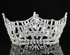 MISS AMERICA MID-SIZE FULL CROWN AUSTRIAN RHINESTONE TIARA PAGEANT SILVER T1297