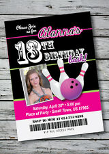 BOWLING Birthday Party Invitation TICKET Style Any Age or Color w/ Photo 5x7