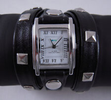 LA MER Watch Silver- Pyramid Stud Leather Wrap Watch