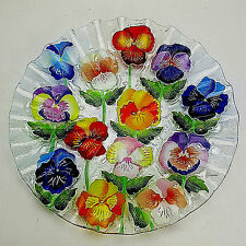 "Signed Genesis Fused Ruffled Pansy 14"" Diameter Centerpiece Bowl Excellent"