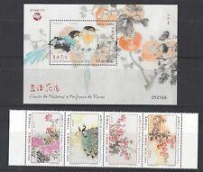 China Macau 2018 Stamp Set Birdsongs and Spring Flowers Bird Painging stamp S/S