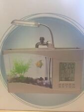 USB Powered Silver Desktop Fish Tank  LCD Calendar and Alarm Clock