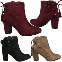 Carrie Womens Mid High Block Heel Lace Back Tassel Ankle Boots Ladies Shoes Size