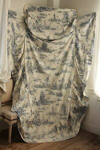 Vintage French bed cover coverlet w/ bolster holder Blue Toile de Jouy fabric