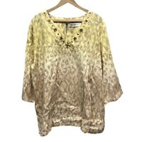 Alfred Dunner Light Tunic Top Women's Plus 2X Yellow Beaded V-Neck 3/4 Sleeve