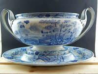 ANTICO 1800 MUSEALE CENTROTAVOLA FRUTTIERA WEDGWOOD BLUE PALISADE CHINESE GARDEN