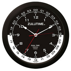"Trintec 14"" ZULUTIME Dual Time Clock ZT14-4 Gift For Pilots & Flight Departments"