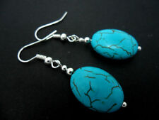 Handmade Oval Turquoise Costume Earrings