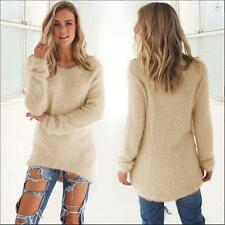 Women Long Sleeve Cotton Knitted Sweater Ladies Zip Jumper Pullover Tops Blouse
