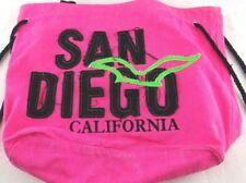 San Diego CA Canvas Tote /Beach Bag Pink w/Black Embroidery Souvenir/777 Lucky