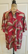 Island Shores Size Large Hawaiian Shirt Tropical Floral Button Up 100% Rayon