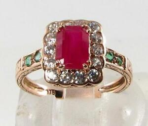 LUSH 9K 9CT ROSE GOLD RUBY DIAMOND COLOMBIAN EMERALD ART DECO INS RING FREE SIZE