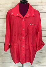 Weekends by Chico's Mattie Wanda 3/4 Sleeve Jacket Fruit Punch Pink Size 3 (XL)