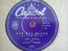 78 Tours LES PAUL AND MARY FORD-BYE BYE BLUES-MAMMY'S BOOGIE