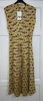 ZARA SS20 YELLOW PRINTED PLEATED MIDI DRESS WITH BELT SIZE M BNWT