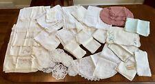 Huge Lot of 96 pcs Genuine Vtg Linens Lace Placemats/Hankies/Napkins/Doilies