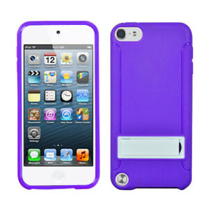 for iPod Touch 5th 6th 7th Gen - Purple Stand TPU Gummy Hard Rubber Case Cover