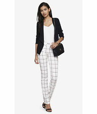 NEW EXPRESS $80 IVORY DOUBLE WINDOWPANE BARELY BOOT COLUMNIST PANTS SZ 10
