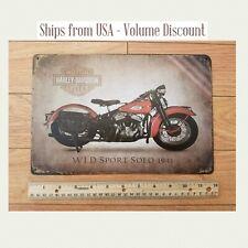 Harley 1941 WLD Sport Solo Harley Metal Shop Mancave Sign Art Classic Vintage